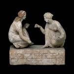 """Knucklebone"" (astragalos) players (330 BC), British Museum, London"